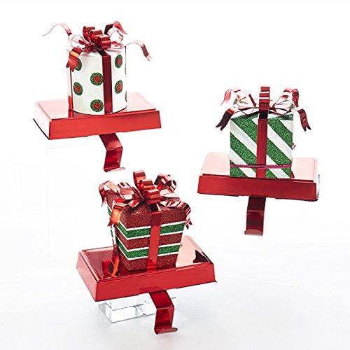 Kurt Adler GIFT BOX WITH BOW STOCKING HANGER - 3 ASSORTED: RED/WHITE/GREEN STRIPE, GREEN/WHITE TRIPE AND RED/WHITE/GREEN POLKA DOT