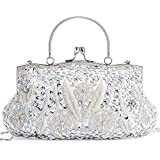 LONGBLE Women's Large Vintage Style Beaded Sequined Evening Bag Wedding Party Handbag Clutch Purse Kissing Lock (Silver A)