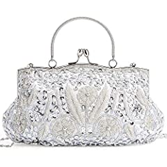Out beaded sequine evening bag is great for Wedding and Parties. It's luxurious and elegant with handmade beaded decorations. Every bag has a detachable shoulder chain, you can use it as shoulder bag, handbag, clutch. The kissing lock make yo...