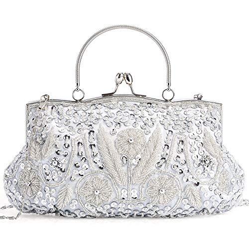 (LONGBLE Women's Large Vintage Style Beaded Sequined Evening Bag Wedding Party Handbag Clutch Purse Kissing Lock (Silver A))