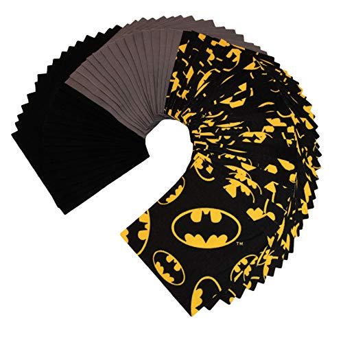 Batman Flannel Extra Large Charm Pack - 64 Squares - DIE Cut - Flannel Fabrics - Rag Quilt - Charm Pack for Quilting - Flannel Charm Pack
