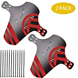 "MTB Mudguard, 2 Packs Mountain Bike Fenders Quick Release Cycling Fender, Compatible Front Rear, Fits 26"", 27.5"", 29"", Plus Size Fat Bike Wheel Sizes (Red 2 Pack)"