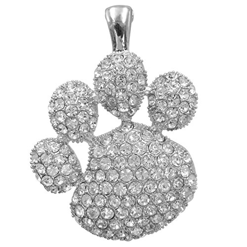 (Gypsy Jewels Large Paw Print School Spirit Mascot Silver Tone Rhinestone Pendant for Necklace- Assorted colors (Clear))