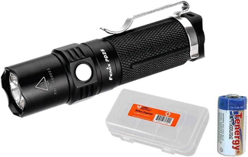 Fenix PD25 Cree XP-L LED 550 Lumens Tiny Pocket Flashlight w LumenTac Battery Organizer CR123A Battery