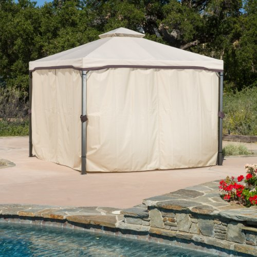 Great Deal Furniture 294930 Sonoma Outdoor Iron Gazebo Canopy Umbrella with Net Drapery (Beige)