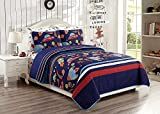 Elegant Home Multicolor Solar System With Space Ships & Rockets Universe Galaxy Stars Design 2 Piece Coverlet Bedspread Quilt for Kids Teens Boys Twin Size # Solar (Twin Size)