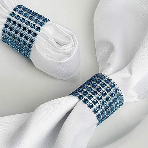 Mikash Diamond Rhinestone Mesh Napkin Rings Wedding Dinner Party Catering Decorations | Model WDDNGDCRTN - 16073 | 30 Pieces