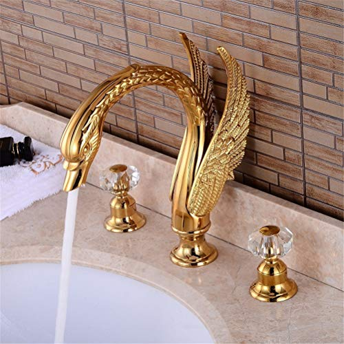 HUAM Modern Golden Swan Shape Basin Faucet Dual Handle Crystal Deck Mount Bathroom Mixer Widespread Cold Hot Water Valve Bathroom Faucet