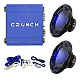 Crunch 1000W Exclusive Blue Amplifier + 12 in. 1600W Subwoofer (2 Pack) + Wiring