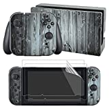 Cheap eXtremeRate Antiqued Wood Decals Stickers Full Set Faceplate Skin +2Pcs Screen Protector for Nintendo Switch Console & Joy-con Controller & Dock Protection Kit