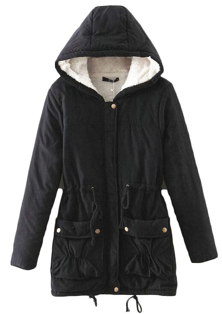 ainr Women Winter Warm Long Coat Fur Collar Hooded Outwear Parka