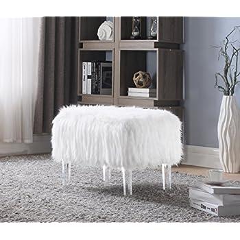 Amazon Com Glam Plush Faux Fur Shaggy White Bench