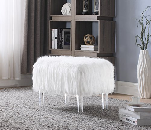 Iconic Home Fiorino Modern Contemporary Faux Fur Acrylic Leg Bench, White (Storage Furry With Ottoman)
