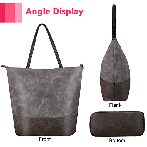 Capacity Style Tote Large Travel Bag Women Bag Shoulder Women Handbag Leather Casual Bag Women Soft Vintage Gray for for qxO67qd