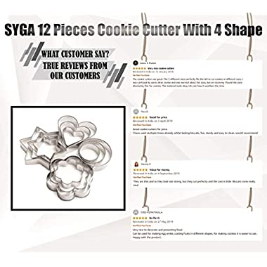 SYGA 12 Pieces Cookie Cutter Stainless Steel Cookie Cutter with Different Shape 10