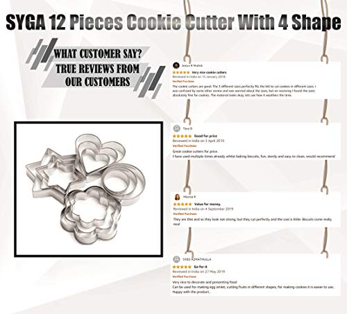 SYGA 12 Pieces Cookie Cutter Stainless Steel Cookie Cutter with Different Shape 5