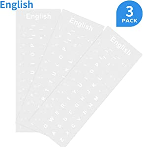 3 Pack Transparent Replacement English Keyboard Stickers, Universal English Transparent Background with White Lettering Keyboard Stickers for PC Laptop Computer Desktop Notebook Keyboards