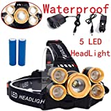 TOBABYFAT LED Headlamp Waterproof Headlight 80000 LM Rechargeable Flashlight 5 LED Head Torch Super Bright Light Lamp for Walking, Running, Cycling, Camping, Hiking and Reading