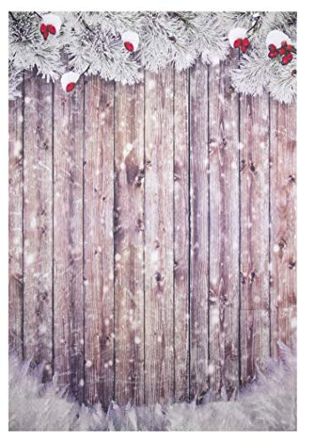 Christmas Photo Booth Backdrop - 5 x 7 Feet Holiday Festive Theme Photography Studio Background, Snowy White Christmas Vintage Wood Panel Design, Party Decoration Prop, 60 x 85 Inches