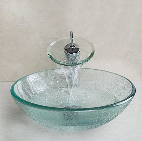 GOWE Cracked Style Tempered Glass Vessel Round Sink With Pop-Up drain and Single Handle Faucet and Mounting Ring 0