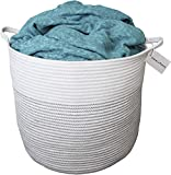 "Cotton Pottery Extra Large Woven Blanket Basket 15"" X 17"" Decorative Cotton Rope Storage Basket 