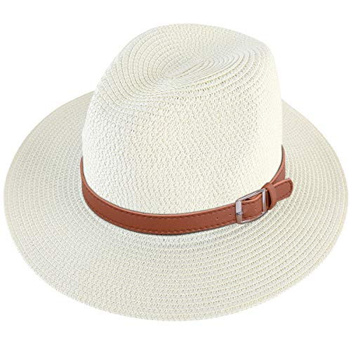 Lanzom Men Wide Brim Straw Foldable Roll up Hat Fedora Summer Beach Sun Hat UPF50+ (Style C-Ivory White, Large Size:Fit for 23