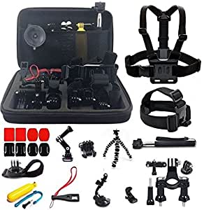 Amazingforless 30-in-1 Sport Accessory Kit for GoPro Hero4 Session Hero 1 2 3 3+ 4 SJ4000 5000 6000 7000 in Swimming Rowing Skiing Climbing Bike Riding Camping Diving and Other Outdoor Sports