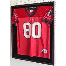 XXL Football/Baseball/Hockey Uniform Jersey Display Case Shadow box frame,UV Protection Door, Built-in LOCK-Mahogany Finish (JC02-MA)