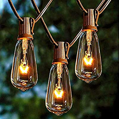 Afirst Outdoor String Lights 20Ft with 20 Edison Bulbs Vintage Bistro String Lights Waterproof Patio String Lights for Garden/Backyard Party/Wedding-Brown Cord - 💡【20FT & End-to-end connectable】Total Length 20 Ft outdoor string lights ,Connect up to five strings end to end to light up a larger area. Replace only with the same 7 watt max intermediate base UL classified light. 🎄【UL Certification】20 edison bulbs that have candelabra (E17) socket base, all bulbs are tested over 48 hours before packing. 🎅【IP44 Waterproof】Vintage bistro string light is waterproof,and each bulb is replaceable and giving a spare fuse.Average life:12 month for cable and socket,3 month for light bulbs. - patio, outdoor-lights, outdoor-decor - 51y51LXgV3L. SS400  -