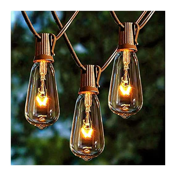 Afirst Outdoor String Lights 20Ft with 20 Edison Bulbs Vintage Bistro String Lights Waterproof Patio String Lights for Garden/Backyard Party/Wedding-Brown Cord - 💡【20FT & End-to-end connectable】Total Length 20 Ft outdoor string lights ,Connect up to five strings end to end to light up a larger area. Replace only with the same 7 watt max intermediate base UL classified light. 🎄【UL Certification】20 edison bulbs that have candelabra (E17) socket base, all bulbs are tested over 48 hours before packing. 🎅【IP44 Waterproof】Vintage bistro string light is waterproof,and each bulb is replaceable and giving a spare fuse.Average life:12 month for cable and socket,3 month for light bulbs. - patio, outdoor-lights, outdoor-decor - 51y51LXgV3L. SS570  -