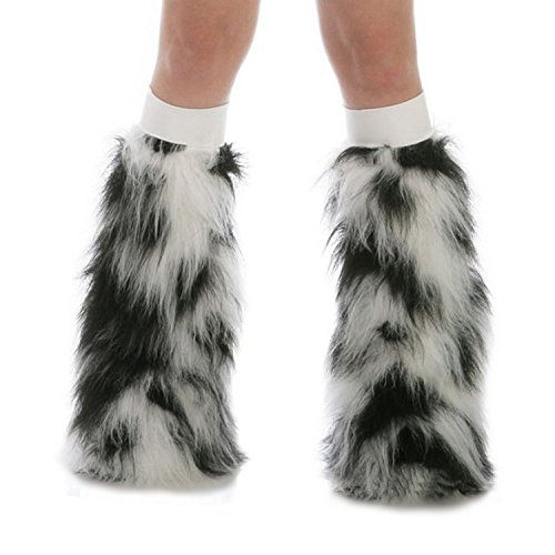 TrYptiX Women's Fluffy Leg Warmers Black and White One Size w/ White Kneebands (White Fluffy Leg Warmers)