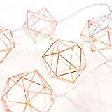 Ling's moment Rose Gold Geometric Metal LED String Lights AA Battery Powered 5.2FT 10 LEDs String Lights For Wedding Minimalist Boho Decor, Vintage Barn, Decorative Patio, Bridal Shower (Soft White