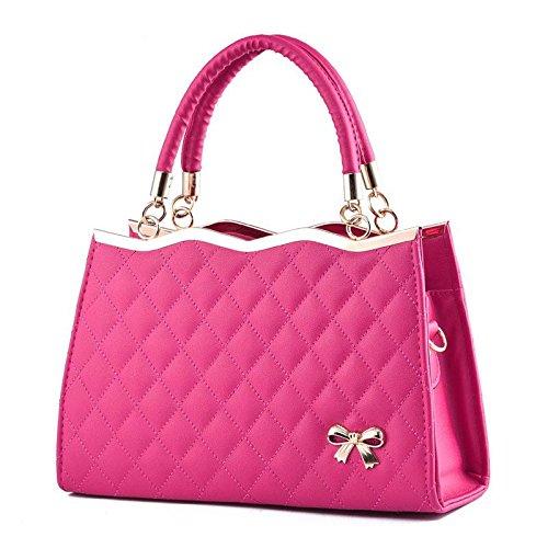 LDMB Bolsos para mujer Bolso de cuero de la PU del arco de señora en relieve hombro Messenger Bag Bolsa Zipper 30 * 10 * 20cm , meters white rose red