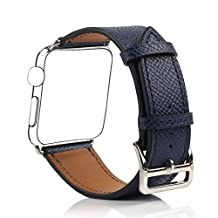Bemorcabo Replacement Band for Apple Watch, iWatch Leather Strap, Smart Watch Bracelet, with Metal Buckle or Clasp, for Both Series 1 and Series 2, 38mm / 42mm