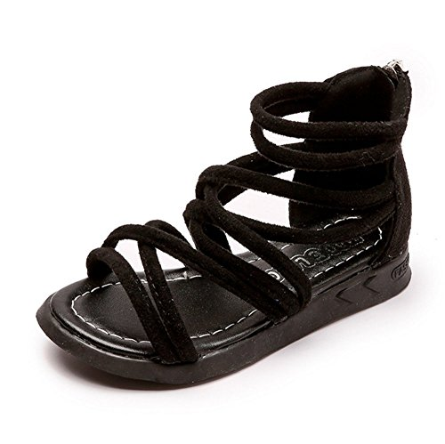 - Meckior Toddler Kids Girls Classical Flat Sandals Rome Shoes (7 M US Toddler, A-Black)
