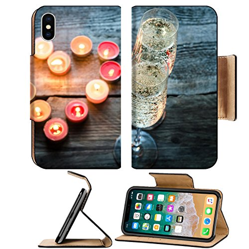 Luxlady Premium Apple iPhone X Flip Pu Leather Wallet Case IMAGE ID: 25719171 Candle heart and champagne