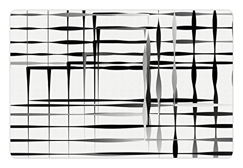 Ambesonne Modern Art Pet Mat for Food and Water, Minimalist Image with Simplistic Spaces and Spare Asymmetric Grids and Lines, Rectangle Non-Slip Rubber Mat for Dogs and Cats, Black White