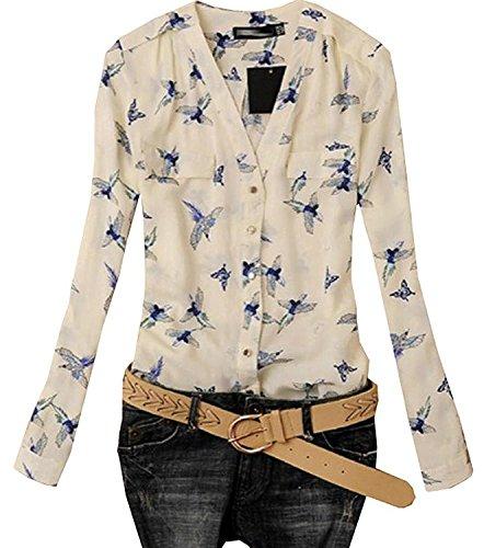 Lovaru Women's Fashion Elegant Bird Print Blouse Long Sleeve Casual Slim Shirts Multi-XXL - Birds Print