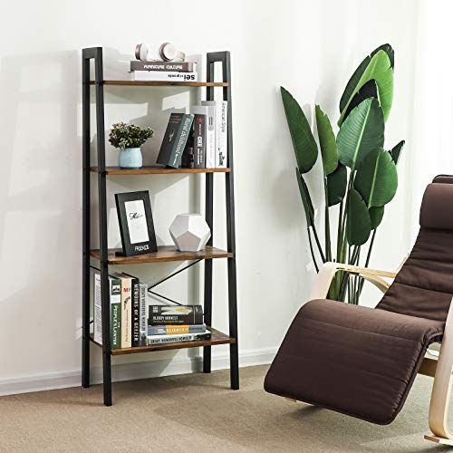 VASAGLE Industrial Ladder Shelf, 4-Tier Bookshelf, Storage Rack Shelves, Bathroom, Living Room, Wood Look Accent Furniture Metal Frame, Rustic Brown ULLS44X