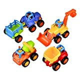 Coolecool Push and Go Pull Back Vehicles Friction Powered Cars for Baby Toys 18 Months and Up (4 Play Vehicles: Tractor, Bulldozer, Dumper, Cement Mixer)