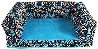 Sile ペットベッド、防水オックスフォード布ペットソファ室内犬の猫のベッド脱着式と洗える折り畳み式快適な通気性のSL - 003 (色 : Blue pattern, サイズ さいず : M m)
