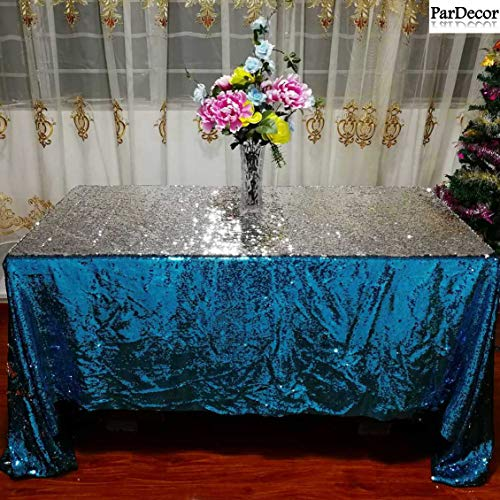 90X156-INCH Turquoise to Silver Sequin Tablecloth Mermaid Sequin Tablecover Reversible Party Overlays ~0606S ()