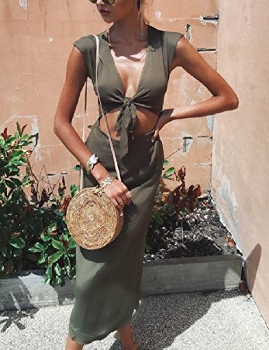 V Army Oceanside Crop Women Coolred Pure Neck Colour Dresses Green Fashionable 7wqBqp4