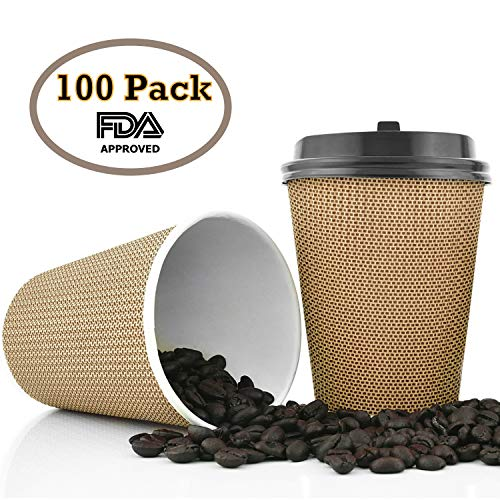 OzBSP Premium Disposable Coffee Cups with Lids 12 oz - 100 Pack | Stylish Ripple Wall Design Double Wall Insulated To Go Paper Coffee Cups | No Sleeve Required | 12oz Hot Cups Reusable Coffe Cup & Lid