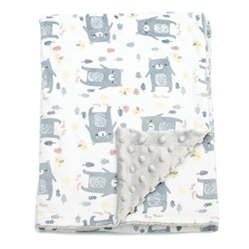 Boritar Baby Blanket Soft Minky with Double Layer Dotted Backing, Lovely Grey Bear Printed 30 x 40 Inch, Receiving Blankets