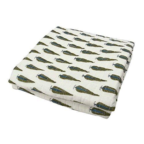 Craftofpinkcity Hand Block Print Cotton Kantha Baby Quilt Blanket Throw Pine Leaf Design Block Print