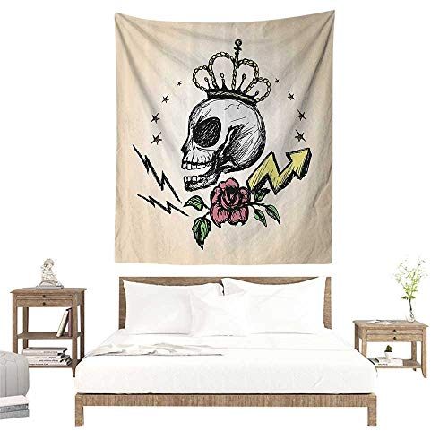 Wall Tapestries Hippie,Skull Decor,Mexican Folk Art Inspired Skeleton with Crown and Rose Halloween Artsy Design,Yellow Peach W57 x L74 inch Tapestry Wallpaper Home Decor]()