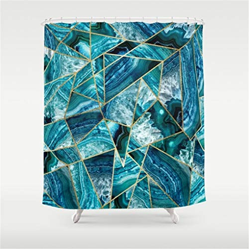 daisy18 Turquoise Navy Blue Agate Black Gold Geometric Triangles Shower Curtain 60x72 inch ()