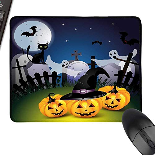 Halloween Waterproof Mousepad Funny Cartoon Design with Pumpkins Witches Hat Ghosts Graveyard Full Moon Cat for Computers, Laptop, Office & Home 35.4