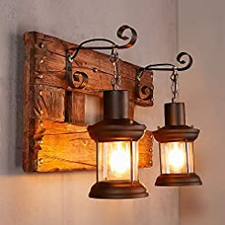 Farmhouse Wall Sconces LAKIQ Industrial Farmhouse Wall Sconce Lighting Fixture Wooden Base Indoor Rustic Wall Lamp Light with 2 Lantern Lights… farmhouse wall sconces